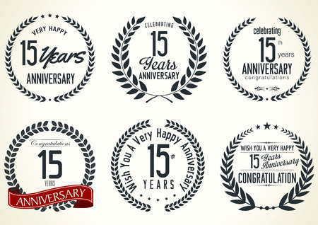 15: Anniversary label collection 15 years Illustration