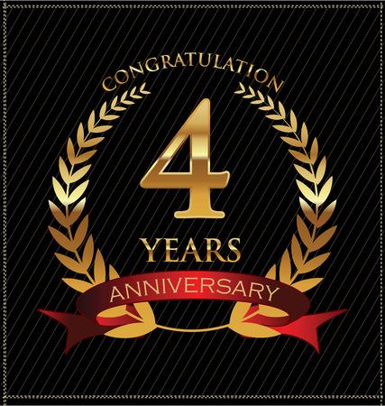 numero uno: Aniversario de laurel de oro corona de flores Vectores