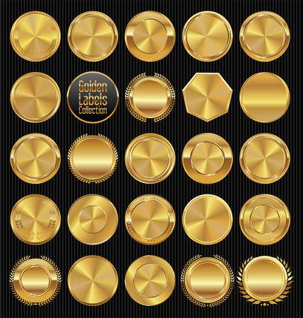 Golden labels and badges colelction Vectores