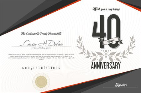 40: Anniversary retro background template