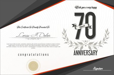 70: Anniversary retro background template