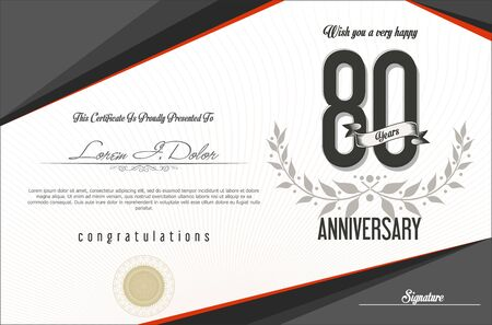 80 years: Anniversary retro background template