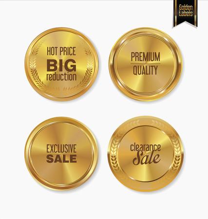 vintage ornament: Golden retro labels colelction