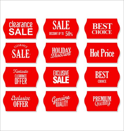 Red price labels collection