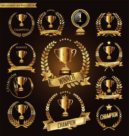 gold banner: Trophy and awards golden badges and labels collection