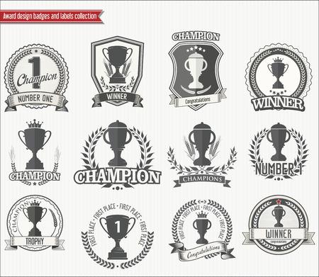 icono deportes: Trofeo de la colecci�n tarjetas de retro Vectores