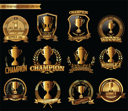 awards: Gold trophy and medal with laurel wreath vector illustration