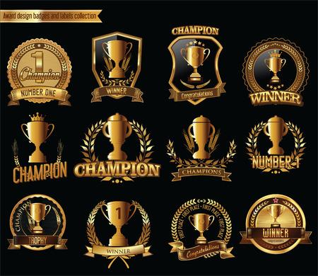 reconocimientos: trofeo de oro y una medalla con la ilustración vectorial corona de laurel