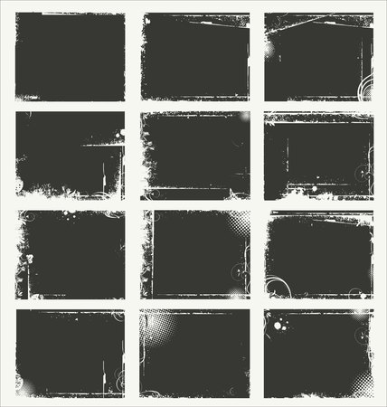 distressed: Empty gray grunge banner collection Illustration