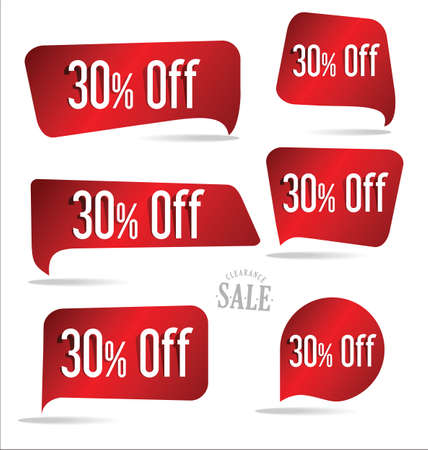 30: 30 percent off red sticker collection Illustration
