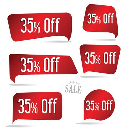 35: 35 percent off red sticker collection Illustration