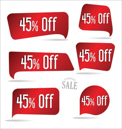 45: 45 percent off red sticker collection Illustration