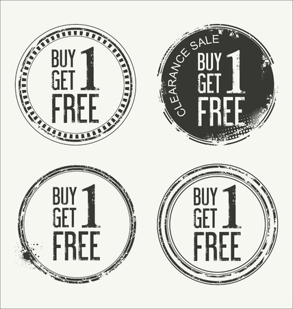 buy one: Grunge rubber label with text Buy One Get One Free
