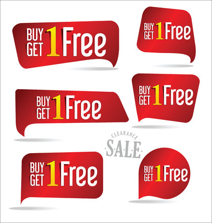 buy one: Buy one get one free, promotional sale labels set