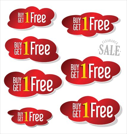 an illustration promoting: Buy one get one free, promotional sale labels set