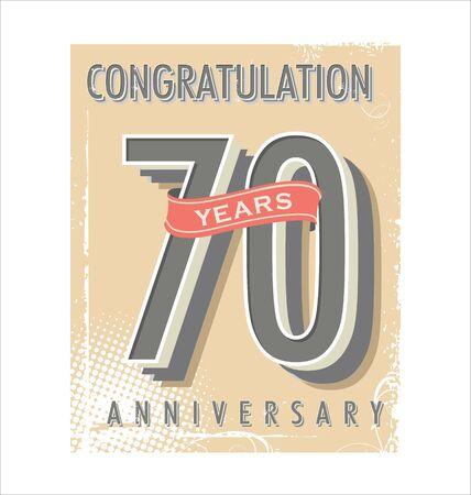 70: Anniversary retro vintage background