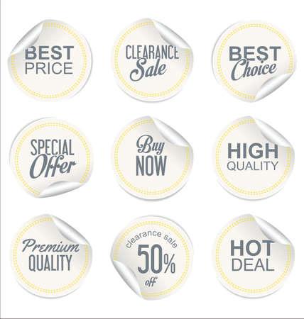 wrapped corner: Round white paper sale sticker collection