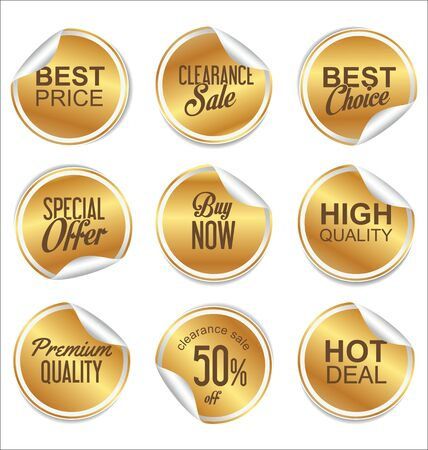 copy: Round white and gold paper sale sticker collection