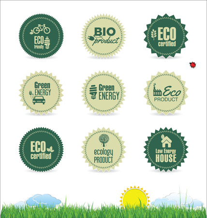 label tag: Eco organic label tag collection Illustration