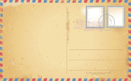 grungy email: vector of old vintage postcard