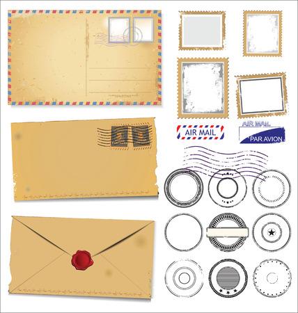 timbre postal: Conjunto de símbolos de estampillas postales Vectores