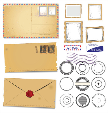 grungy email: Set of post stamp symbols