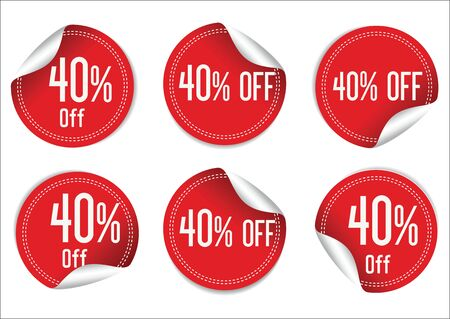 sale off: 40 percent off red paper sale stickers