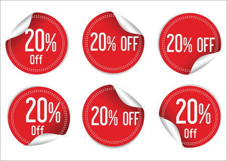 20: 20 percent off red paper sale stickers Illustration