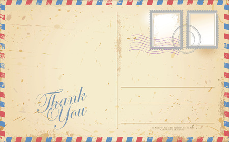 postcard back: Vintage postcard designs envelopes and black stamps Illustration