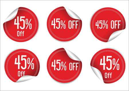 45: 45 percent off red paper sale stickers Illustration
