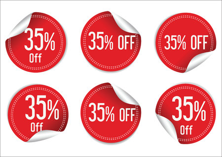 35: 35 percent off red paper sale stickers