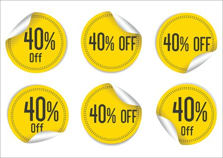 sale off: 40 percent off yellow paper sale stickers Illustration