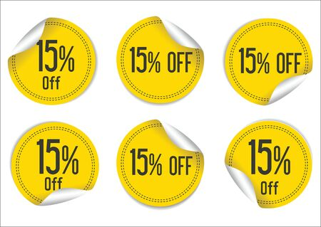 15: 15 percent off yellow paper sale stickers