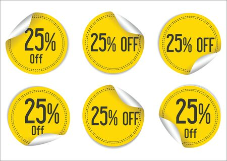 25: 25 percent off yellow paper sale stickers Illustration