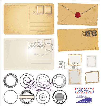 빈티지 엽서 봉투과 검은 색 우표 디자인