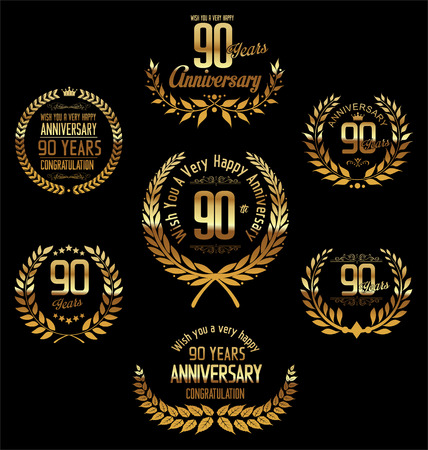 90 years: Anniversary laurel wreath 90 years Illustration