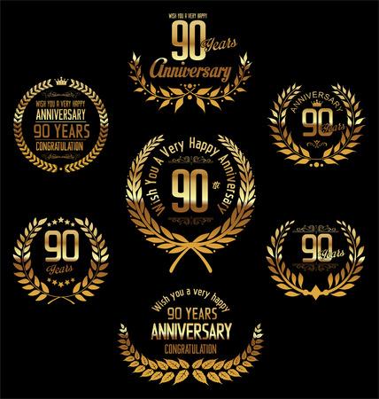 90: Anniversary laurel wreath 90 years Illustration
