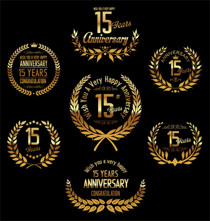 15: Anniversary laurel wreath 15 years Illustration