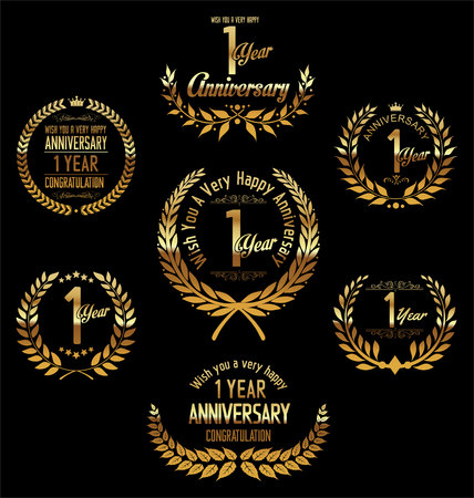 one year old: Anniversary laurel wreath 1 year