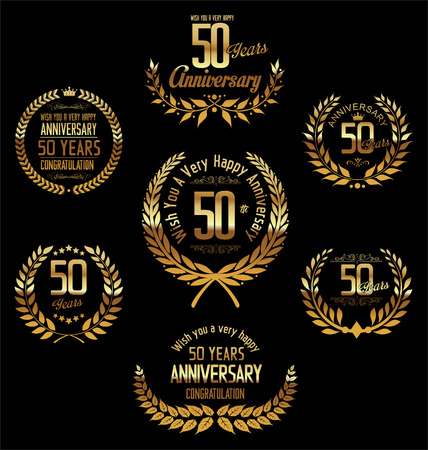 fifty: Anniversary laurel wreath 50 years Illustration