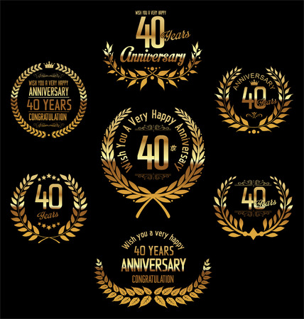 40: Anniversary laurel wreath 40 years Illustration