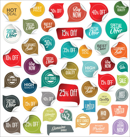 label sticker: Sale price tag and sticker collection Illustration