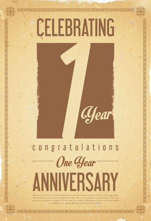 one year old: Anniversary retro vintage background 1 year Illustration