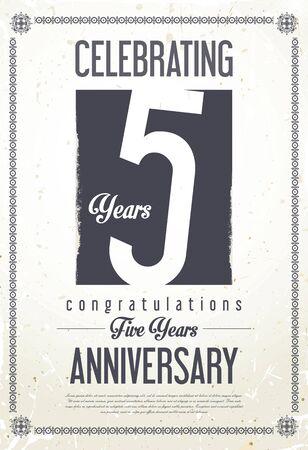 aniversario de boda: Aniversario de la cosecha de fondo retro 5 años