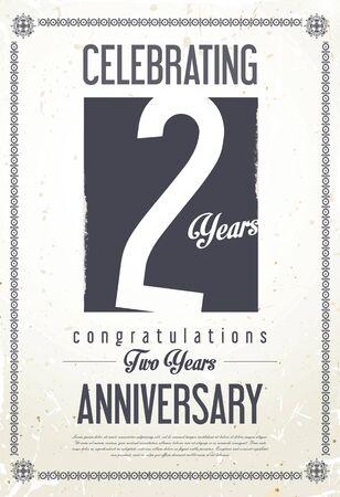 an anniversary: Anniversary retro vintage background 2 years