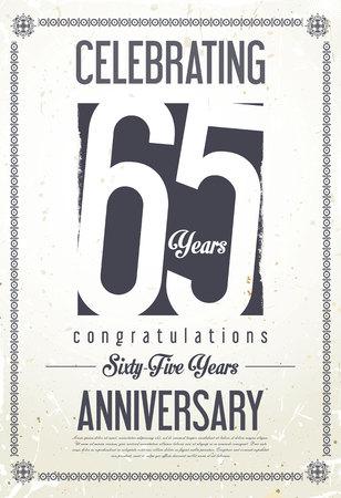 65 years old: Anniversary retro background 65 years