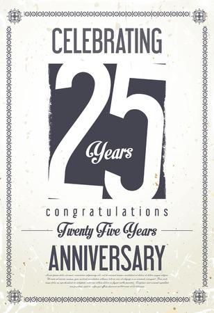 Anniversaire rétro fond 25 ans Vecteurs