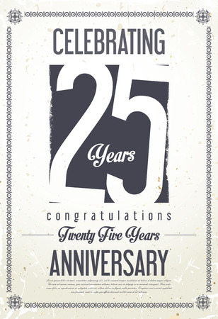 Anniversary retro achtergrond 25 jaar Stock Illustratie