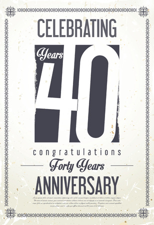 Anniversary retro background 40 years Illustration