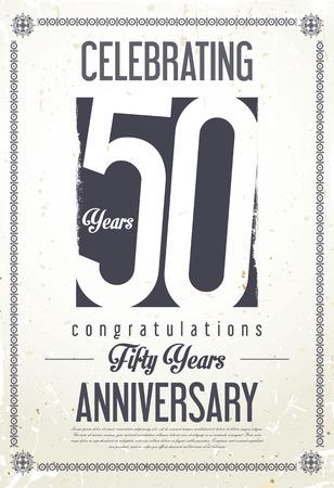 Anniversary retro background 50 years Illustration